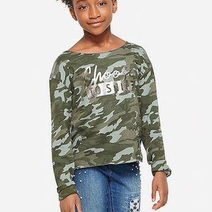 NWT Justice Camo Open Back Sweatshirt